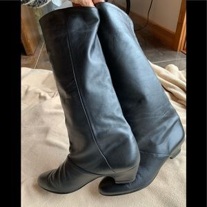 Shoes - Vintage black cuff boots, 80's, 9.5M like new